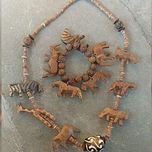 Jewelry - Vintage Wood Necklace & Bracelet Set